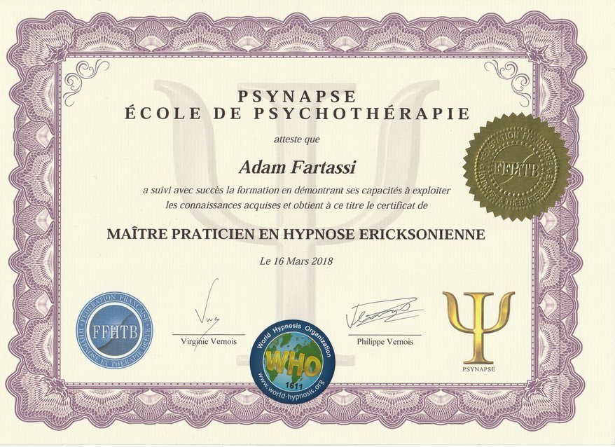 Maitre praticien Hypnose diplome